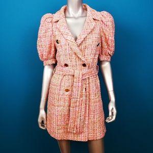 BOOHOO 1960'S Metallic Boucle Tweed Mini Dress NWT